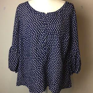 Isaac Mizrahi Live plus size blouse w/bell sleeve